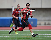 May 24, 2015; Los Angeles, CA, USA; Los Angeles Aviators defensive cutter Ian Chiles (11) against the San Francisco Flamethrowers in an American Ultimate Disc League (AUDL) match at Occidental College. The Aviators defeated the Flamethrowers 23-22. <br /> <br /> Photo by Kirby Lee