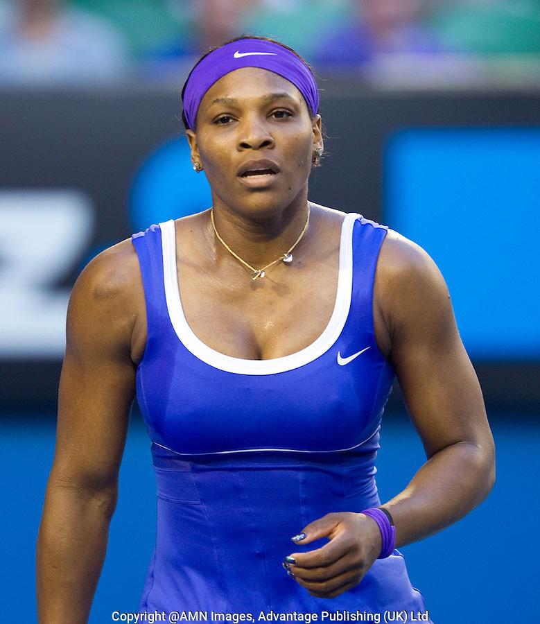 SERENA WILLIAMS (USA) against GRETA ARN (HUN) in the third round of the Women's Singles. Serena Williams beat Greta Arn 6-1 6-1..21/01/2012, 21st January 2012, 21.01.2012..The Australian Open, Melbourne Park, Melbourne,Victoria, Australia.@AMN IMAGES, Frey, Advantage Media Network, 30, Cleveland Street, London, W1T 4JD .Tel - +44 208 947 0100..email - mfrey@advantagemedianet.com..www.amnimages.photoshelter.com.