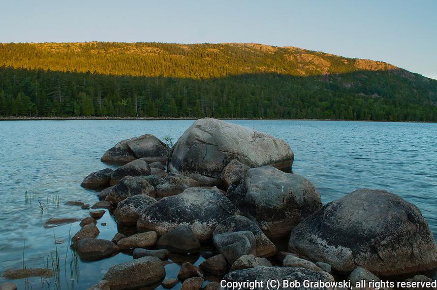 Sunrise at Jordan Pond in Acadia National Park in Maine