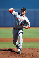 Salt River Rafters pitcher Ryan Perry #48, of the Washington Nationals organization, during an Arizona Fall League game against the Peoria Javelinas at Peoria Stadium on October 17, 2012 in Peoria, Arizona.  Salt River defeated Peoria 12-9.  (Mike Janes/Four Seam Images via AP Images)