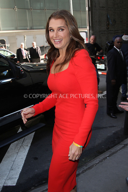 WWW.ACEPIXS.COM....October 11 2012, New York City....Actress Brooke shields made an appearance at 'Good Morning America' on October 11 2012 in New York City....By Line: Zelig Shaul/ACE Pictures......ACE Pictures, Inc...tel: 646 769 0430..Email: info@acepixs.com..www.acepixs.com