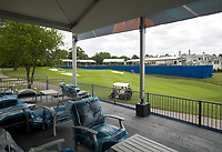 NWA Democrat-Gazette/JASON IVESTER<br /> Recreational golfers play on the course Wednesday, June 14, 2017, next to the new seating area called Hub479 overlooking the 17th green at Pinnacle Country Club in Rogers. Events begin Monday for the LPGA Wal-Mart NW Arkansas Championship.