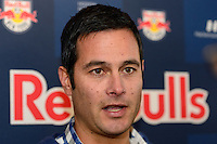 New York Red Bulls head coach Mike Petke is interviewed at Red Bull Arena in Harrison, NJ, on January 24, 2014.