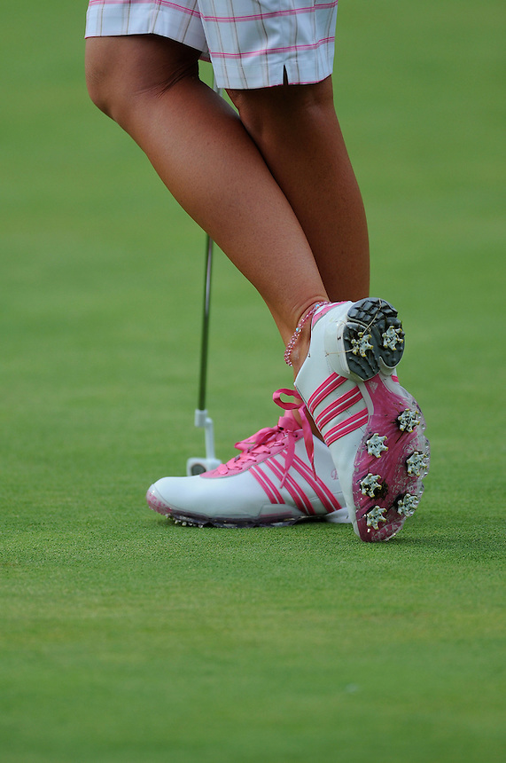 10 JULY 2011:   A detail photo of the pink cleats of Paula Creamer, of Pleasonton, California, USA, during the final round of the LPGA U.S. Women's Open at the Broadmoor in Colorado Springs, Colorado.   *****For Editorial Use Only*****