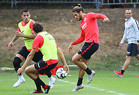 Goncalo Paciencia (Eintracht Frankfurt) gegen Carlos Salcedo (Eintracht Frankfurt), Lucas Torro (Eintracht Frankfurt) - 28.08.2018: Eintracht Frankfurt Training, Commerzbank Arena, DISCLAIMER: DFL regulations prohibit any use of photographs as image sequences and/or quasi-video.