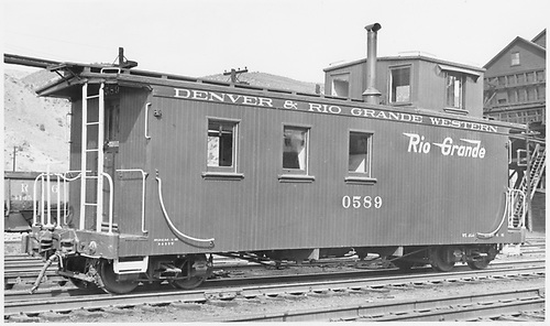 Caboose #0589.<br /> D&amp;RGW  Salida, CO  6/1942