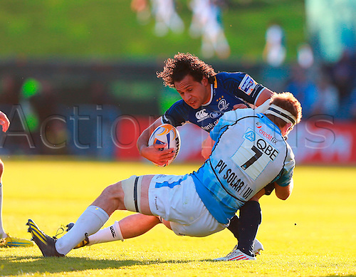 11.05.2013 Dublin, Ireland.  Isa Nacewa (Leinster) is tackled by John Barclay (Glasgow) during the RaboDirect PRO12 Semi Final game between Leinster and Glasgow Warriors from the Royal Dublin Society.