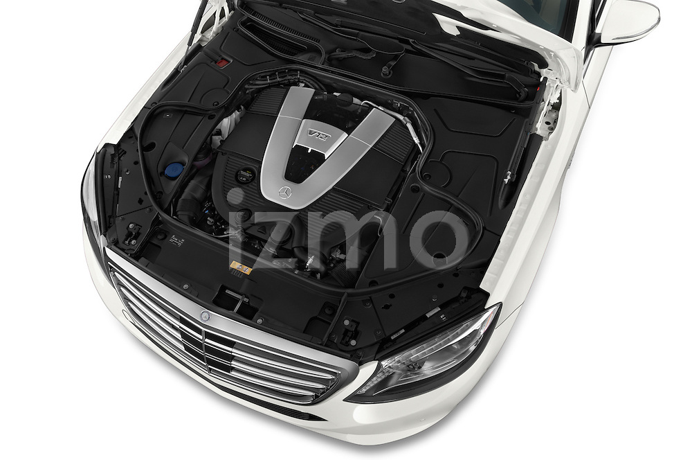 Car Stock2016 Mercedes Benz S Class May Bach 4 Door Sedan Engine high angle detail view