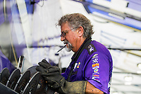 Sep 25, 2016; Madison, IL, USA; John Medlen , crew member for NHRA funny car driver Jack Beckman during the Midwest Nationals at Gateway Motorsports Park. Mandatory Credit: Mark J. Rebilas-USA TODAY Sports