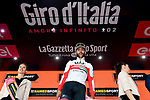 An unhappy Fernando Gaviria (COL) UAE Team Emirates is awarded the stage win after first across the line Italian Champion Elia Viviani (ITA) Deceuninck-Quick Step is relegated by the UCI after the finish of Stage 3 of the 2019 Giro d'Italia, running 220km from Vinci to Orbetello, Italy. 13th May 2019<br /> Picture: Gian Mattia D'Alberto/LaPresse | Cyclefile<br /> <br /> All photos usage must carry mandatory copyright credit (© Cyclefile | Gian Mattia D'Alberto/LaPresse)