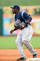 Corpus Christi Hooks first baseman Telvin Nash (23) covers first during a game against the NW Arkansas Naturals on May 26, 2014 at Arvest Ballpark in Springdale, Arkansas.  NW Arkansas defeated Corpus Christi 5-3.  (Mike Janes/Four Seam Images)