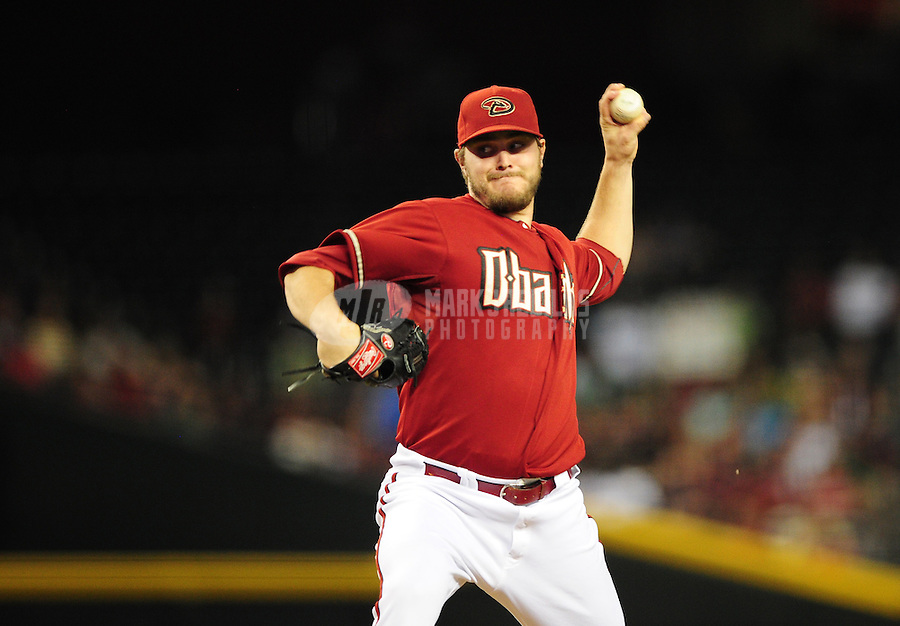 Jun. 6, 2012; Phoenix, AZ, USA; Arizona Diamondbacks pitcher Wade Miley throws in the fifth inning against the Colorado Rockies at Chase Field.  Mandatory Credit: Mark J. Rebilas-