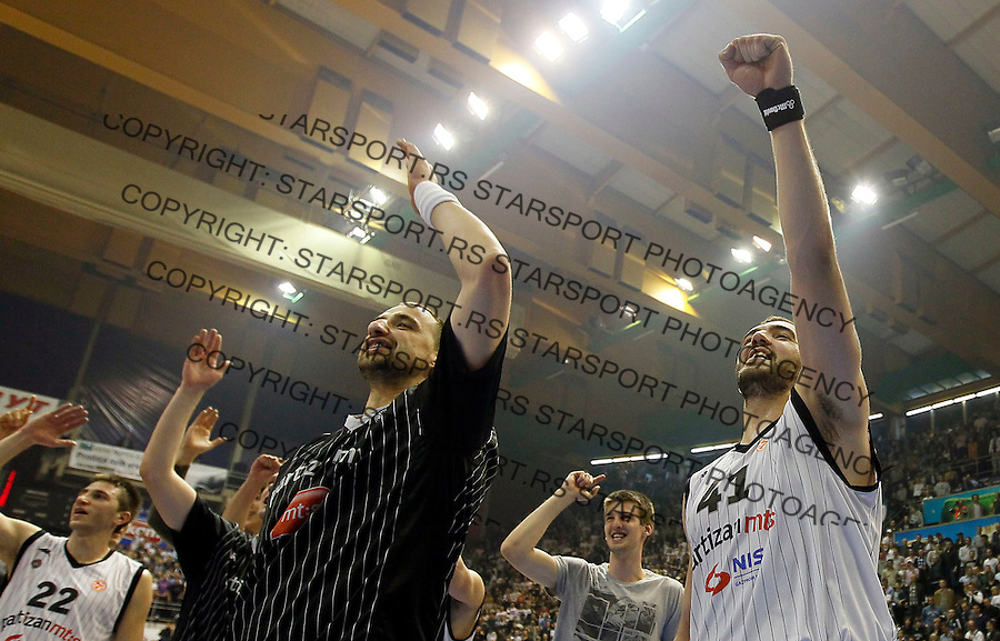 Kosarka, Euroleague, sezona 2011/2012.Partizan Vs. Real Madrid.Nikola Pekovic, right and Rasko Katic.Belgrade, 10.11.2011..foto: Srdjan Stevanovic/Starsportphoto ©