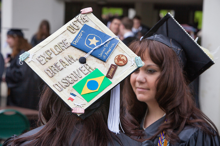 Ohio University student, Darian Pinkston decorates her hat to honor her upcoming journey to teach English in Brazil through the Fulbright U.S. Student Program..  Photo by Ohio University / Jonathan Adams