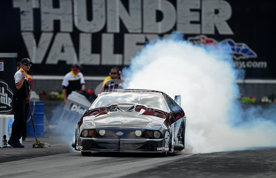 Jun. 16, 2012; Bristol, TN, USA: NHRA pro mod driver Leah Pruett during qualifying for the Thunder Valley Nationals at Bristol Dragway. Mandatory Credit: Mark J. Rebilas-