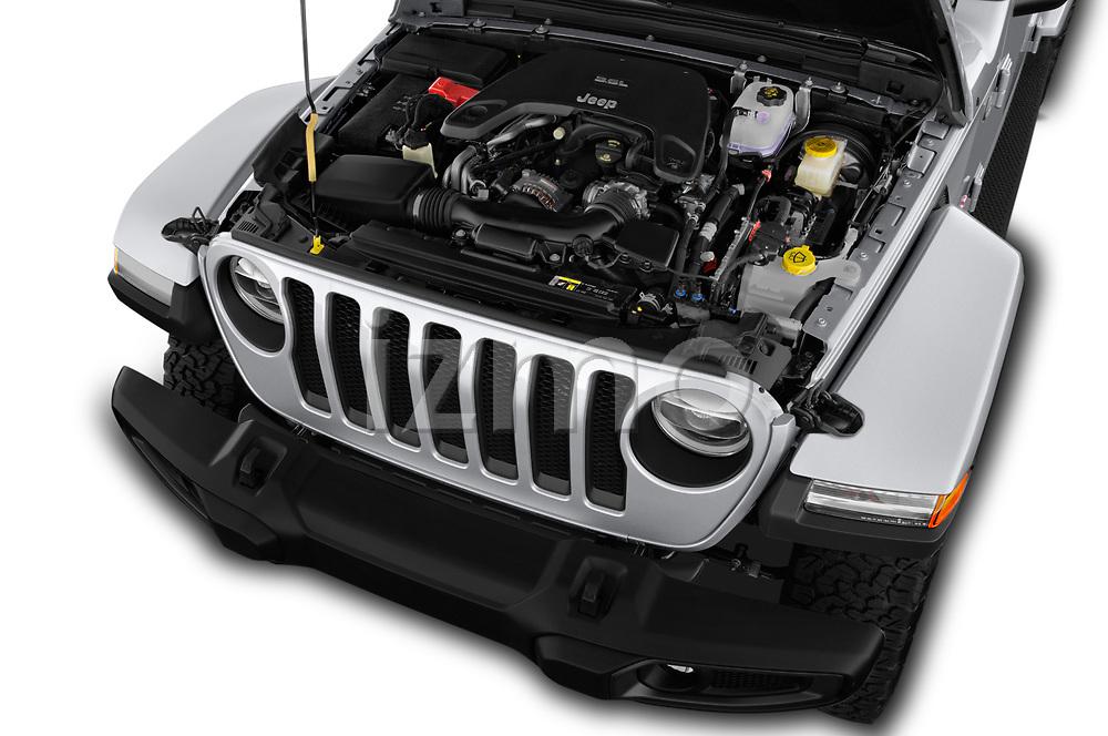 Car stock 2018 Jeep Wrangler Unlimited Sahara 5 Door SUV engine high angle detail view