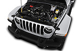 Car stock 2018 Jeep Wrangler Unlimited Sahara 5 Door SUV engine high angle detail view