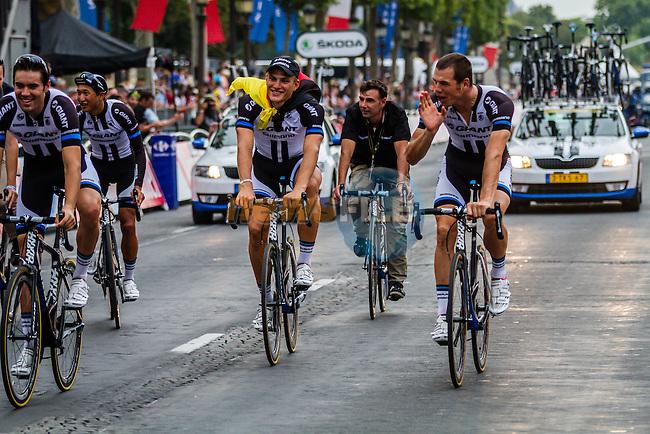 Marcel Kittel (GER) of Team Giant Shimano celebrating his win with teammate Tom Dumoulin, Rider parade on the Champs-Élysées, Tour de France, Stage 21: Évry > Paris Champs-Élysées, UCI WorldTour, 2.UWT, Paris Champs-Élysées, France, 27th July 2014, Photo by Thomas van Bracht