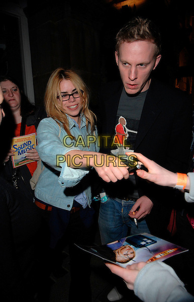 "BILLIE PIPER & LAURENCE FOX.Leaving the ""Treats"" preview performance, Garrick Theatre, London, UK..February 22nd 2007.half length glasses blue denim jacket couple signing autographs. CAP/CAN.©Can Nguyen/Capital Pictures"