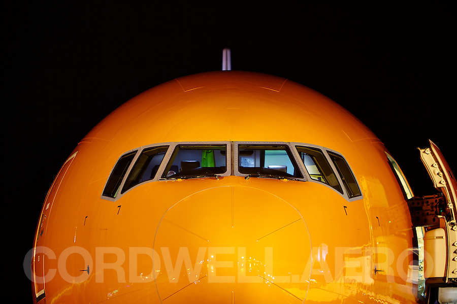 Boeing 777 TNT Orange transport aircraft