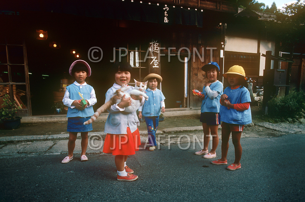 October, 1980. Tokyo, Japan. The landscape and daily activities of the countryside on the outskirts of Tokyo.
