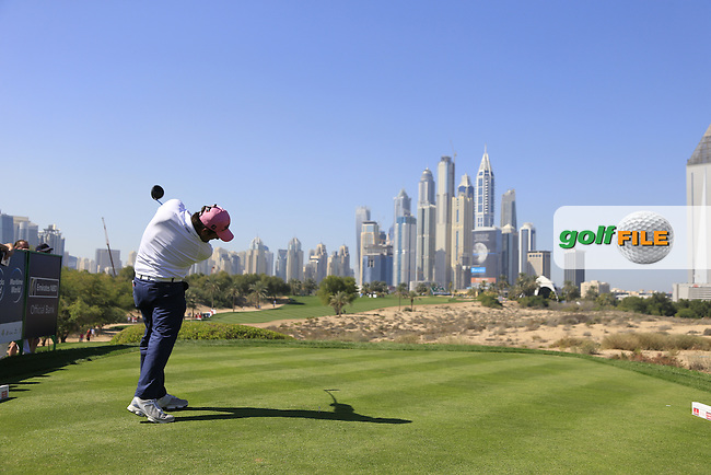 Alexander Levy (FRA) tees off the 8th tee during Pink Friday's Round 2 of the 2015 Omega Dubai Desert Classic held at the Emirates Golf Club, Dubai, UAE.: Picture Eoin Clarke, www.golffile.ie: 1/30/2015