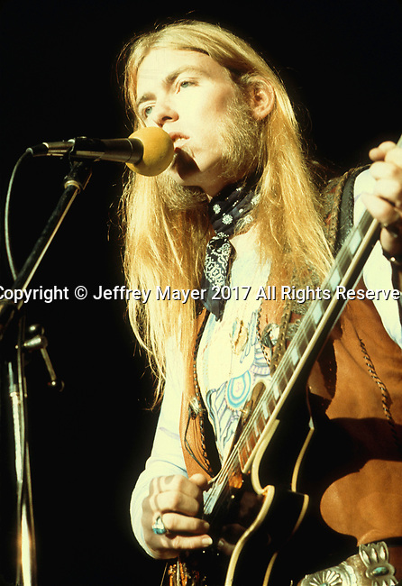 INGLEWOOD, CA - NOVEMBER 07: Gregg Allman live in concert with the Allman Brothers Band at The Forum on November 7, 1974 in Inglewood, California.