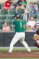 Avery Romero (1) of the Greensboro Grasshoppers at bat against the Kannapolis Intimidators at CMC-NorthEast Stadium on August 30, 2014 in Kannapolis, North Carolina.  The Intimidators defeated the Grasshoppers 3-1.  (Brian Westerholt/Four Seam Images)
