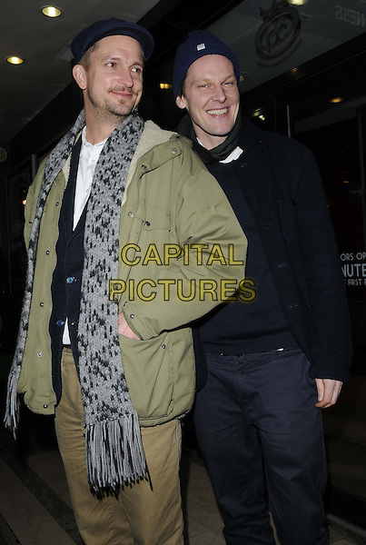 "Christian Bonke & Andreas Koefoed.attended the ""Ballroom Dancer"" film screening & Q&A, Prince Charles Cinema, Leicester Place, London, England..January 15th, 2013.half 3/4 length black blue grey gray scarf jacket hat trousers hand in pocket.CAP/CAN.©Can Nguyen/Capital Pictures."