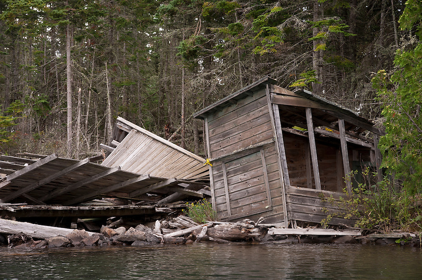 The remains of a structure on Tobin Harbor at Isle Royale National Park.