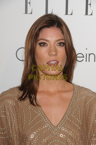 JENNIFER CARPENTER .at The 16th Annual Elle Women in Hollywood Tribute held at The Four Seasons Hotel in Beverly Hills, California, USA,.October 19th 2009..portrait headshot beige gold studs studded v-neck                 .CAP/RKE/DVS.©DVS/RockinExposures/Capital Pictures.