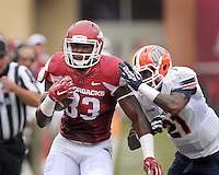 NWA Democrat-Gazette/BEN GOFF @NWABENGOFF<br /> Dashone Smith, UTEP free safety, forces Jeremy Sprinkle, Arkansas tight end, out of bounds on Saturday Sept. 5, 2015 during the first quarter of the game in Razorback Stadium in Fayetteville.