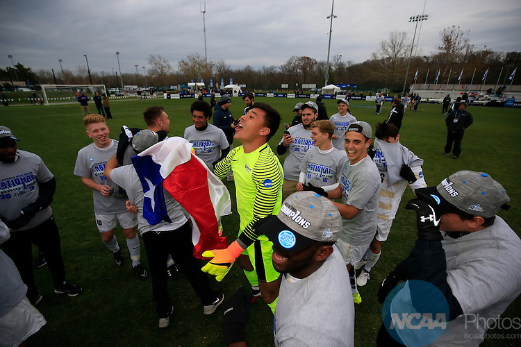 KANSAS CITY, MO - DECEMBER 03:   Goalie Pablo Jara (1) of Wingate University celebrates after defeating the University of Charleston during the Division II Men's Soccer Championship held at Children's Mercy Victory Field at Swope Soccer Village on December 03, 2016 in Kansas City, Missouri. Wingate beat Charleston 2-0 to win the National Championship. (Photo by Jack Dempsey/NCAA Photos via Getty Images)