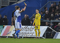 Fleetwood Town's Ashley Hunter is shown a yellow card by referee Brett Huxtable<br /> <br /> Photographer Kevin Barnes/CameraSport<br /> <br /> The EFL Sky Bet League One - Bristol Rovers v Fleetwood Town - Saturday 22nd December 2018 - Memorial Stadium - Bristol<br /> <br /> World Copyright © 2018 CameraSport. All rights reserved. 43 Linden Ave. Countesthorpe. Leicester. England. LE8 5PG - Tel: +44 (0) 116 277 4147 - admin@camerasport.com - www.camerasport.com