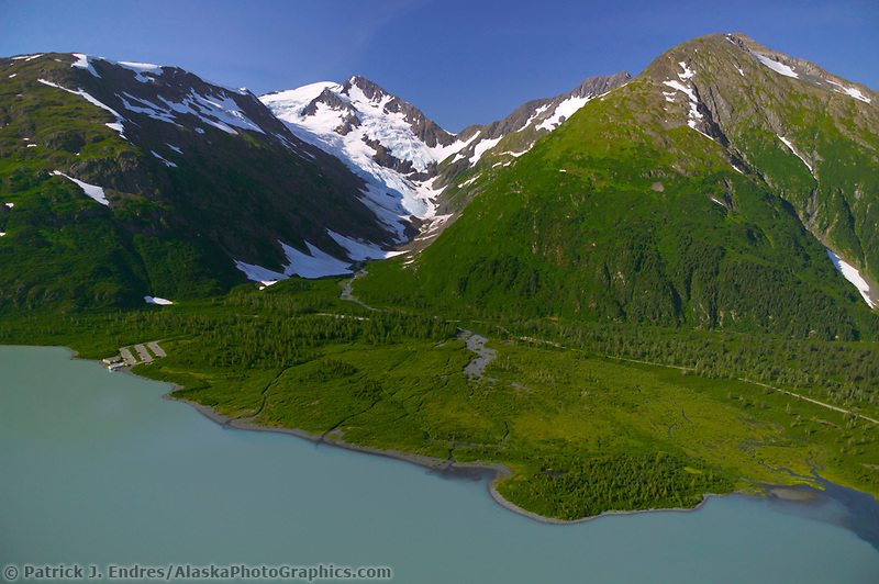 Aerial of Begich Boggs visitors center and Portage Lake which flows through Portage Valley and into the Turnagain Arm, Alaska
