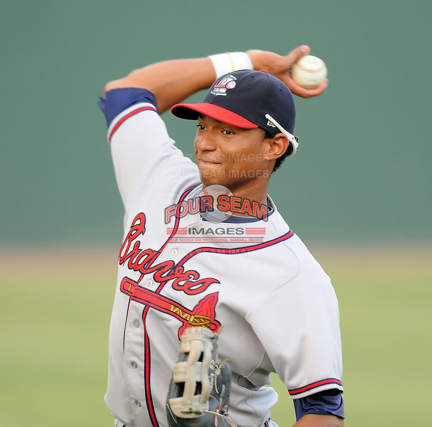Catcher Christian Bethancourt (19) of the Rome Braves in a game against the Greenville Drive on Aug. 9, 2010, at Fluor Field at the West End in Greenville, S.C. Photo by: Tom Priddy/Four Seam Images.