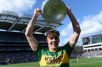 17-1-2017: Four goal hero, Team Captain and Man of the Match, David Clifford from Fossa Killarney raises the Tommy Markem Cup following Kerry's four-in-a-row All-Ireland titles  at Croke Park on Sunday.<br /> Photo: Don MacMonagle