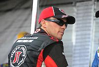 Oct. 3, 2009; Kansas City, KS, USA; NASCAR Nationwide Series driver Kevin Harvick during the Kansas Lottery 300 at Kansas Speedway. Mandatory Credit: Mark J. Rebilas-
