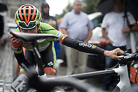 Wout Van Aert (BEL/Crelan-Vastgoedservice) checking his saddle position pre-race<br /> <br /> 50th GP Jef Scherens 2016