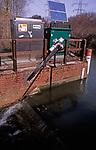 A912XA River flow monitoring station River Deben near Wickham Market Suffolk England