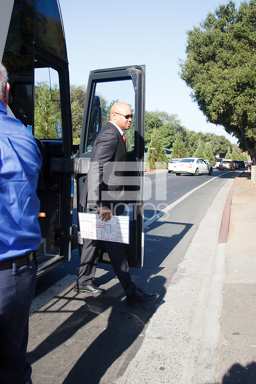 STANFORD, CA -- October 19, 2013: David Shaw, head coach, arrives before the Stanford vs UCLA game Saturday afternoon at Stanford Stadium.