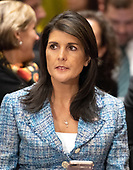 United States Ambassador to the United Nations Nikki Haley attends the confirmation hearing for CIA Director Mike Pompeo to be US Secretary of State before the US Senate Committee on Foreign Relations on Capitol Hill in Washington, DC on Thursday, April 12, 2018.<br /> Credit: Ron Sachs / CNP