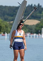 "Henley on Thames, United Kingdom, 24th June 2018, Sunday, ""Henley Women's Regatta"", view, ""Championship Women's Single Sculler"", Fiona EWING, Sydney University, AUS, Henley Reach, River Thames, Thames Valley, England, © Peter SPURRIER 24/06/2018"