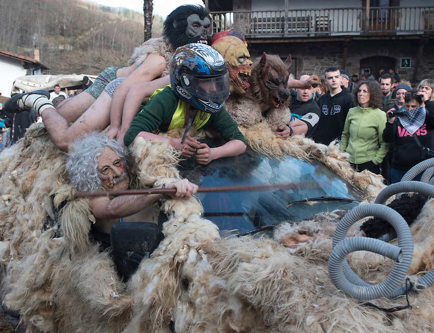 ZUBIETA, NAVARRE: Revellers take part during the ancient traditional carnival in Zubieta village, Basque Country, on January 28, 2020. Photo: Ander Gillenea
