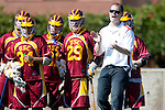 Los Angeles, CA 02/20/10 - Coach Aktary and USC team on sidelines during the USC-Loyola Marymount University MCLA/SLC divisional game at Leavey Field (LMU).  LMU defeated USC 10-7.