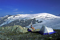 Camping at Harding Ice Field.  Kenai Fjords National Park,  Alaska.  MR
