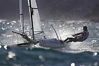 RIO DE JANEIRO, BRAZIL - AUGUST 13:  Bora Gulari and Louisa Chafee of USA in action during a Nacra 17 Mixed class race on Day 8 of the Rio 2016 Olympic Games at the Marina da Gloria on August 13, 2016 in Rio de Janeiro, Brazil.  (Photo by Clive Mason/Getty Images)