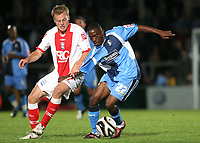 Nathan Ashton of Wycombe Wanderers, former Charlton and Fulham player who represented England at U19 leve tries to shake off a challenge from Birmingham's Sebastian Larsson during Wycombe Wanderers vs Birmingham City, Carling Cup Football at Adams Park on 13th August 2008