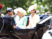 Trooping The Colour 2019<br /> LONDON, ENGLAND - JUNE 08: Meghan, Duchess of Sussex, Camilla, Duchess of Cornwall and Catherine, Duchess of Cambridge attend Trooping The Colour, the Queen's annual birthday parade, on June 08, 2019<br /> CAP/GOL<br /> ©GOL/Capital Pictures