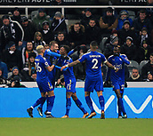 9th December 2017, St James Park, Newcastle upon Tyne, England; EPL Premier League football, Newcastle United versus Leicester City; Demarai Gray of Leicester City is congratulated by Jamie Vardy Riyad Mahrez with Wilfred Ndidi and Danny Simpson close by after  making it 1-2 in the  60th minute